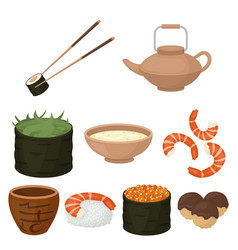 Sushi set icons in cartoon style big collection vector