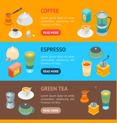 tea and coffee banner horizontal set 3d isometric vector image