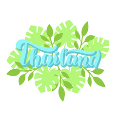 Thailand lettering text poster with palm leaves vector