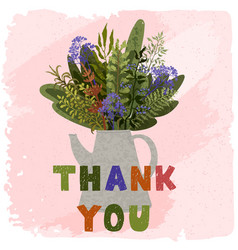 thank you - lovely hand drawn greeting card vector image