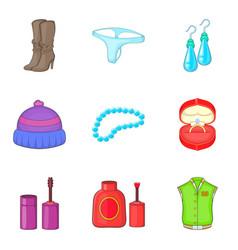 Toiletry icons set cartoon style vector