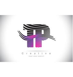 tp t p zebra texture letter logo design vector image