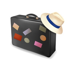 travel suitcase and a hat vector image