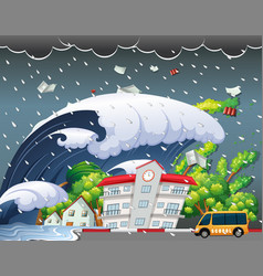 Tsunami hit school building vector
