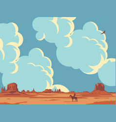 western landscape with cloudy sky and lone indian vector image