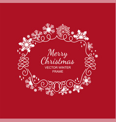 white snowflake frame red background xmas vector image