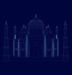 wireframe taj mahal building blue vector image