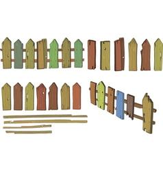 Wooden fence cartoon vector image