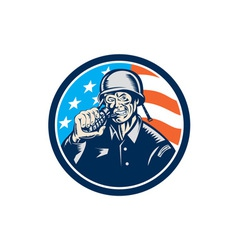 World War Two Soldier American Grenade Circle vector image