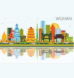 Wuhan china city skyline with color buildings vector