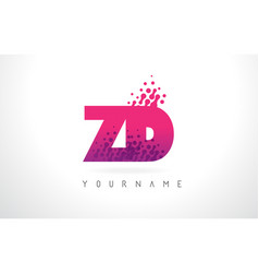 Zd z d letter logo with pink purple color and vector