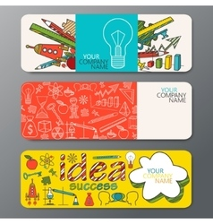 banner set in doodle style with ideas vector image