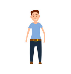 funny male character in blue t-shirt vector image