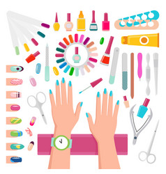 nail polishes and instruments for manicure set vector image