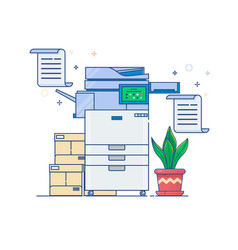 office multi-function printer scannerflat thin vector image vector image