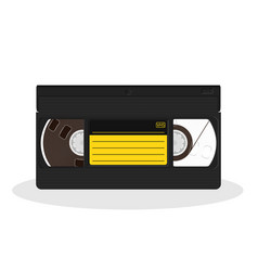 Retro video cassette with black and yellow vector