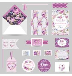 Set of Wedding Stationary - Invitation Card RSVP vector image