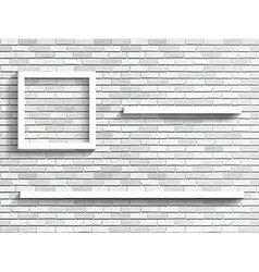 Shelves on white brick wall vector