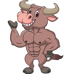 Smiling bull mascot presenting islated vector image vector image