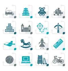 stylized different kind of toys icons vector image