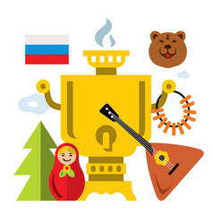 symbols of russia flat style colorful vector image vector image