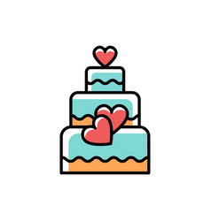 wedding cake line icons love symbol flat vector image