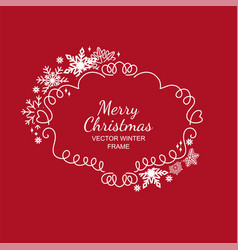 white and red snowflake frame christmas design vector image
