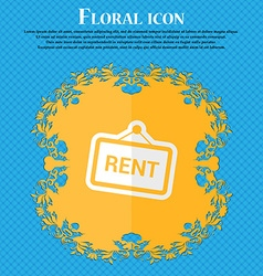 Rent Floral flat design on a blue abstract vector image
