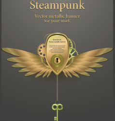 banner with gears steampunk logo vector image vector image