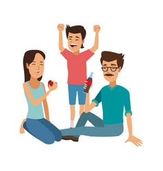 family eating daddy mom and their kid sitting vector image