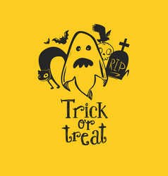 ghost with friends and trick or treat vector image