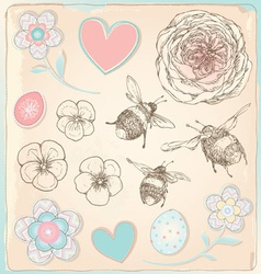 Hand Drawn Vintage Bees Flowers and Hearts Set vector image vector image