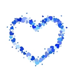 Heart contour made up of little blue hearts vector image vector image