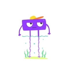 Purple Square Monster On The Beach vector image vector image