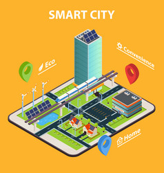 smart city tablet concept vector image vector image