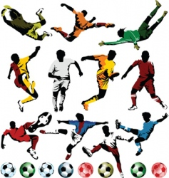 soccer players collection vector image vector image