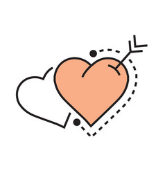 Two heart and arrow icon flat vector
