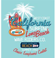 west coast california surfing company vector image vector image