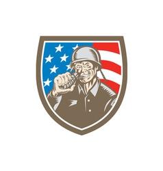 World War Two Soldier American Grenade Crest vector image