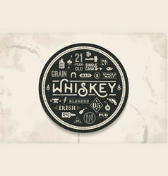 coaster for whiskey and alcohol beverage vector image vector image