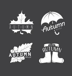 et of autumn emblems with a leaf umbrella vector image