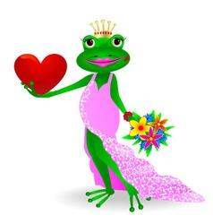 Frog in love vector image vector image