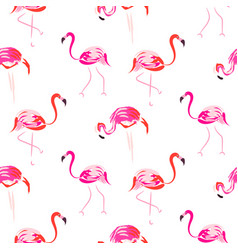 Hand drawn pink flamingo bird seamless pattern vector