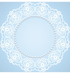 Lace and pearl frame on blue background vector