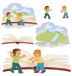 little boys turn pages great book vector image