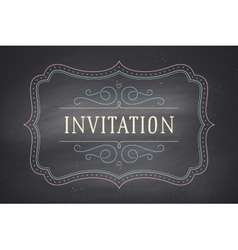Old vintage frame with text Invitation vector image vector image
