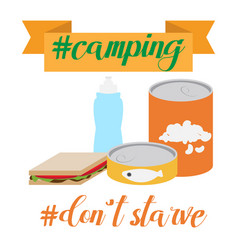 outdoor cooking canned food and camping cooking vector image vector image