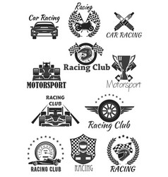racing club and motorsport isolated symbol set vector image