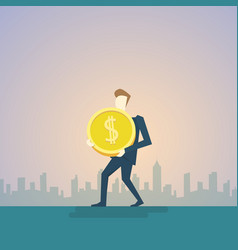 Rich business man hold coin money finance success vector
