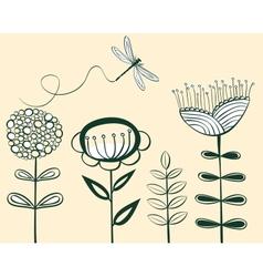 seamless vintage flower pattern line art vector image vector image